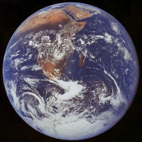 ADMINISTRATION RELEASES SATELLITE PHOTOS PROVING EARTH IS ROUND - Today satellite image of world